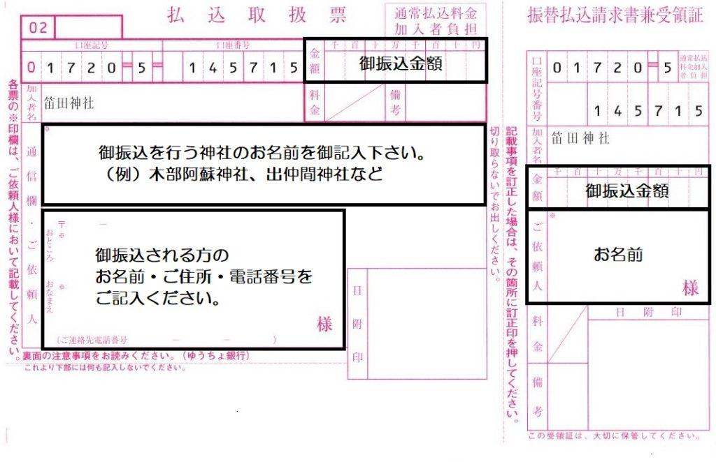 笛田神社寄付方法